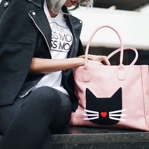 Pink Haley pink vegan leather cat tote